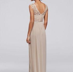 David's Bridal Dresses - David's Bridal Long Dress with Lace Bodice